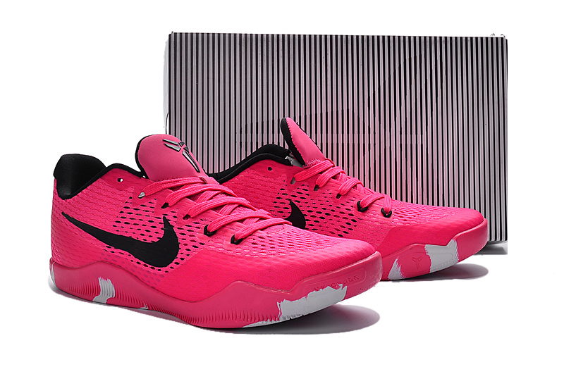 New Nike Kobe 11 EM Breast Cancer Red Black Shoes