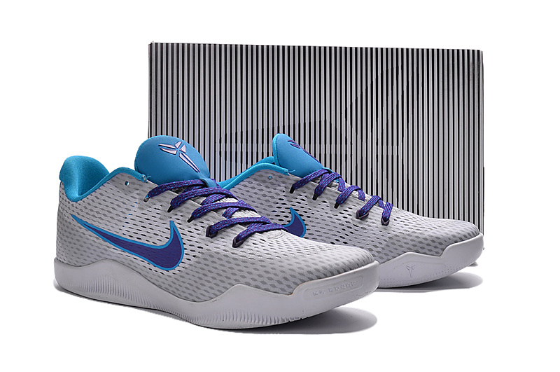 New Nike Kobe 11 EM Wolf Grey Purple Blue Shoes