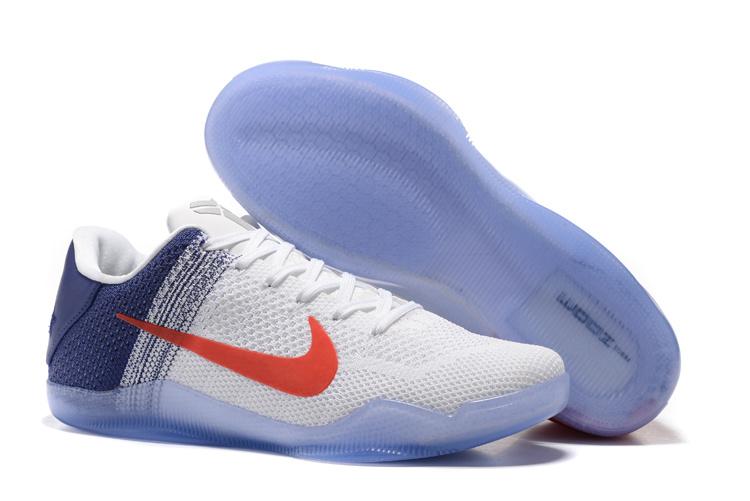 New Nike Kobe 11 Elite White Blue Orange Knit Shoes