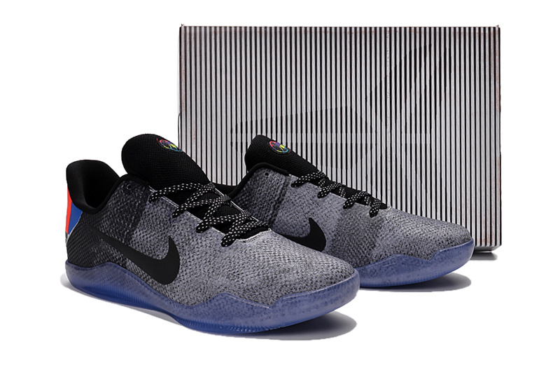 New Nike Kobe 11 TV Black Grey Blue Sole Shoes