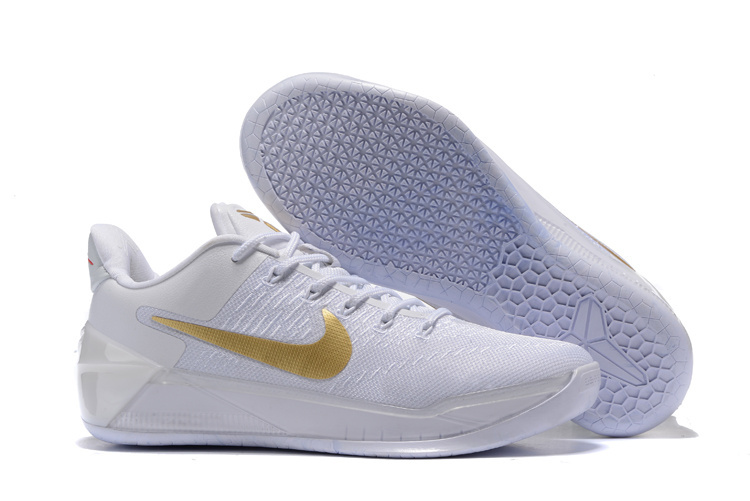New Nike Kobe Bryant 12 Christmas White Gold Shoes