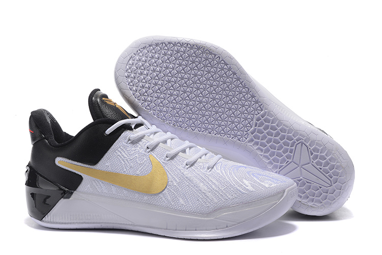 New Nike Kobe Bryant 12 White Black Gold Shoes