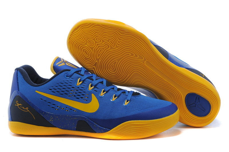 New Nike Kobe Bryant 9 Blue Yellow Shoes