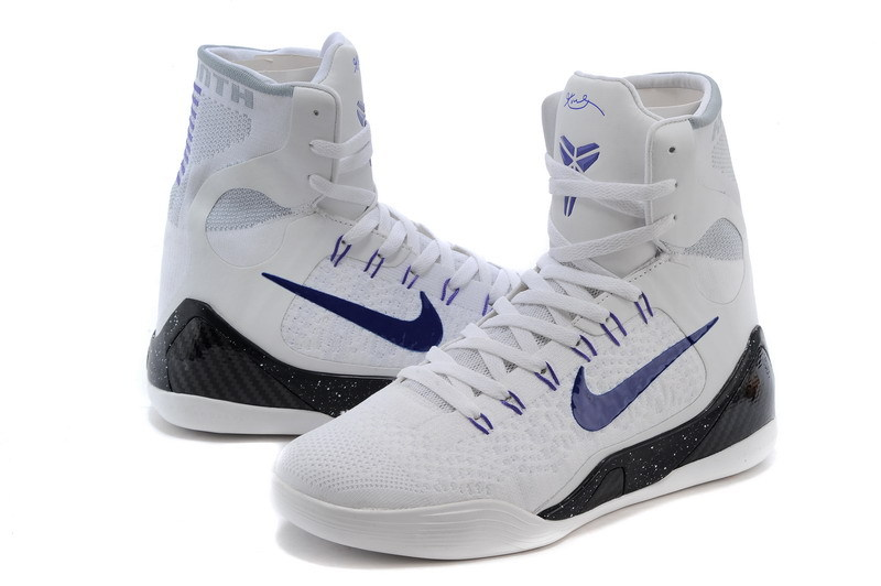 New Nike Kobe Bryant 9 High White Blue Black Shoes
