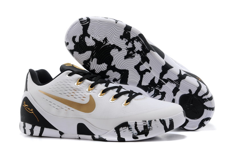 Nike Kobe Bryant 9 Low White Black Gold Shoes