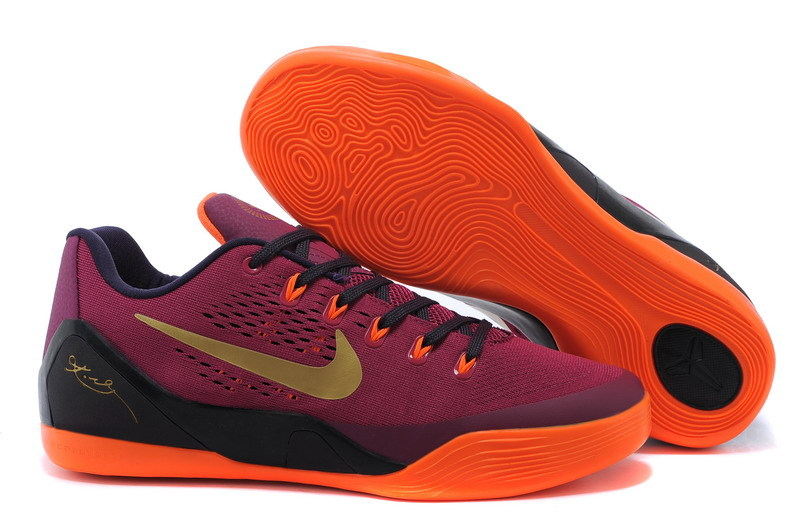 New Nike Kobe Bryant 9 Wine Red Black Orange Shoes