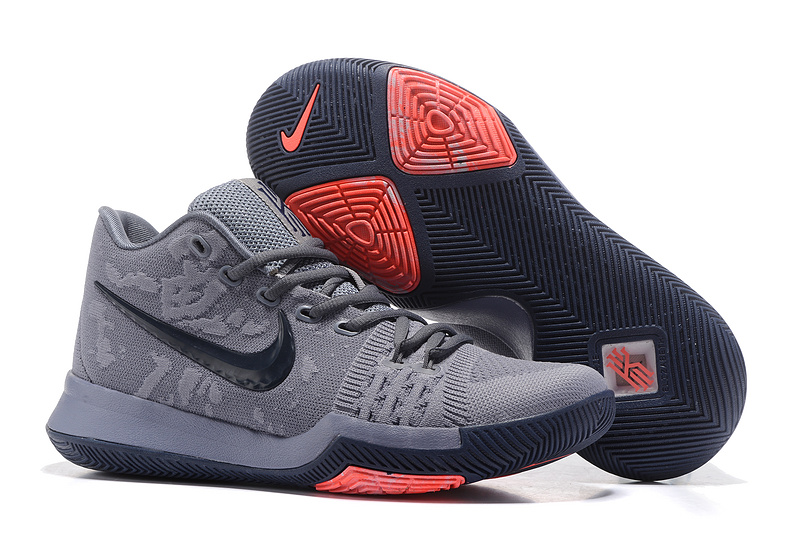 New Nike Kyrie 3 Carbon Grey Black Red Shoes