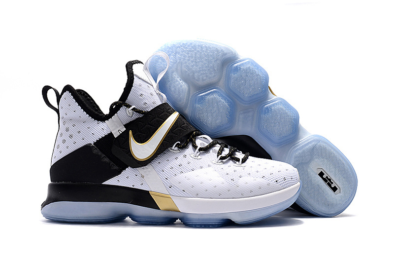 New Nike LeBron 14 White Black Gold Shoes