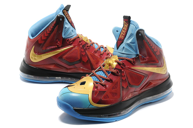 Nike Lebron James 10 Iron Man Red Gold Blue Black