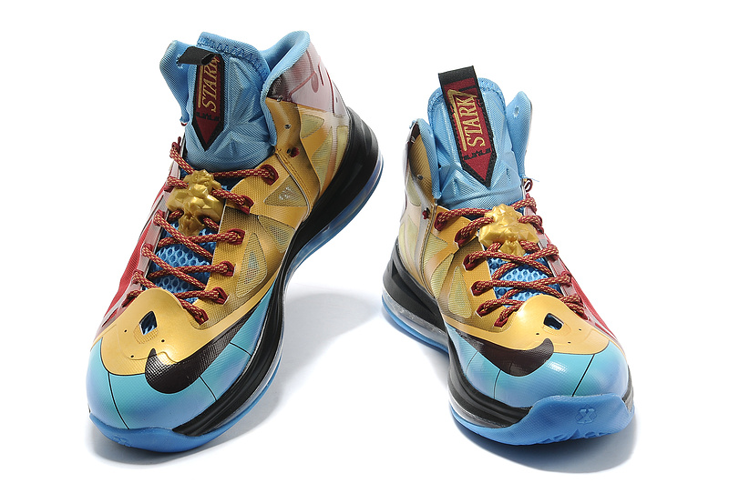 Original Nike Lebron James 10 Iron Man Red Gold Blue Black ...