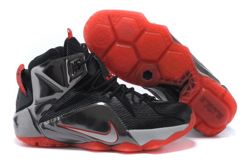 New Nike Lebron James 12 Black Grey Red Shoes