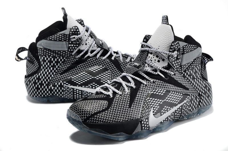 New Nike Lebron James 12 Black Men Grey Black Shoes