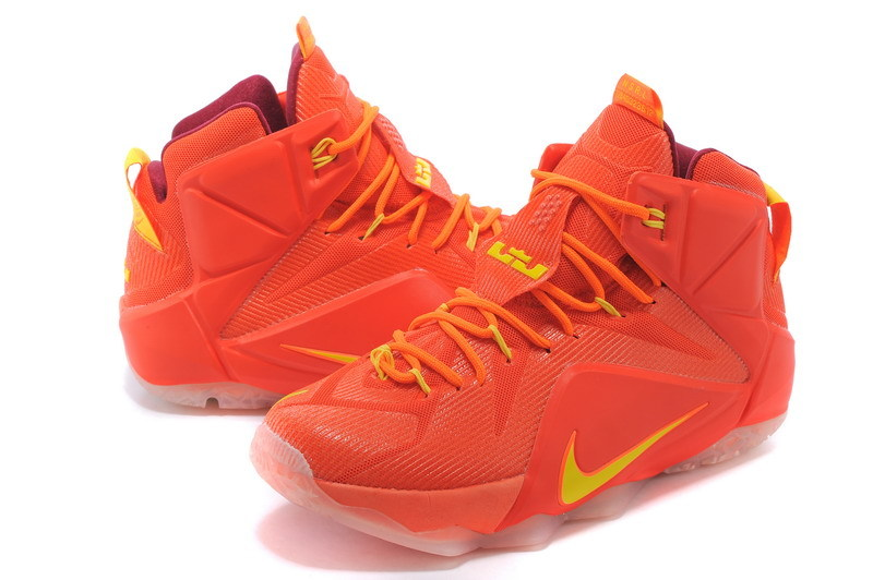 New Nike Lebron James 12 Full Orange Yellow Shoes