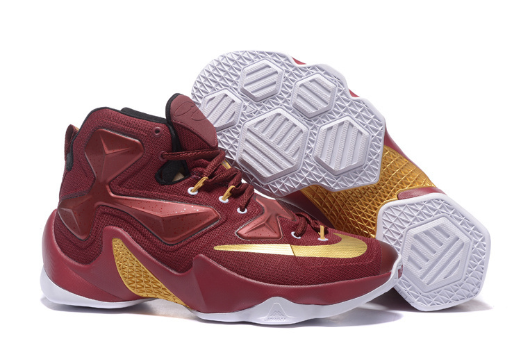 New Nike Lebron James 13 Wine Red Gold Shoes
