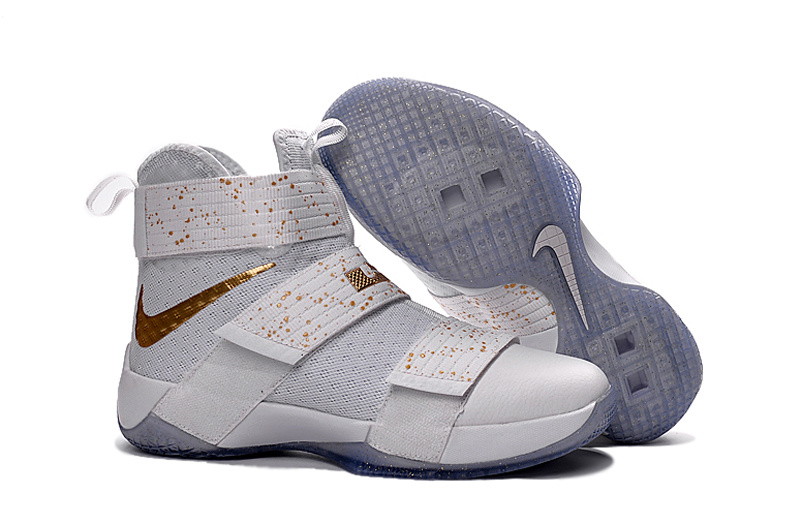 New Nike Lebron Soldier 10 USA White Gold Shoes