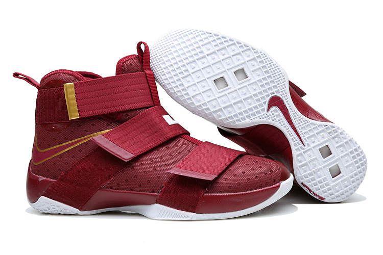 New Nike Lebron Soldier 10 Wine Red Yellow Shoes