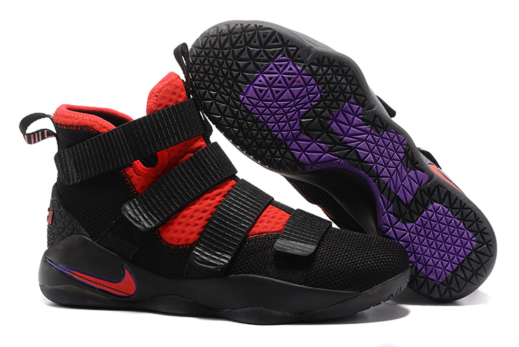 New Nike Lebron Soldier 11 Black Red Purple Shoes