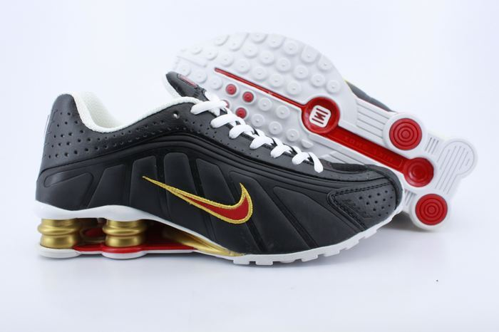 New Nike Shox R4 Black Gold Red Shoes