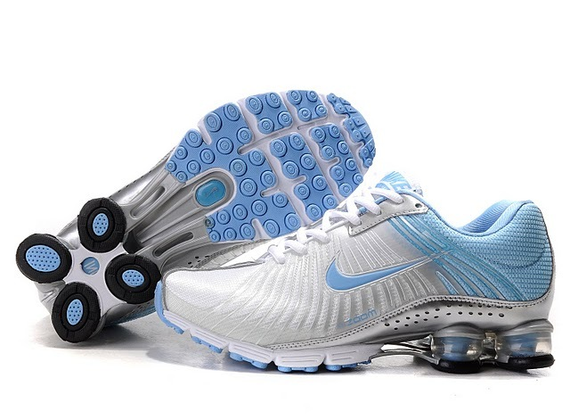 New Nike Shox R4 White Baby Blue Shoes For Women
