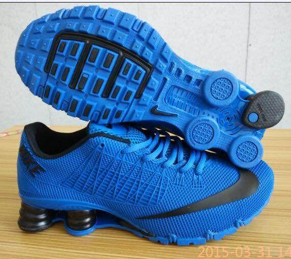 New Nike Shox Turbo All Blue Black Swoosh Shoes