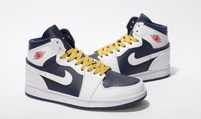 New Nike Air Jordan 1 White Blue Yellow Shoes