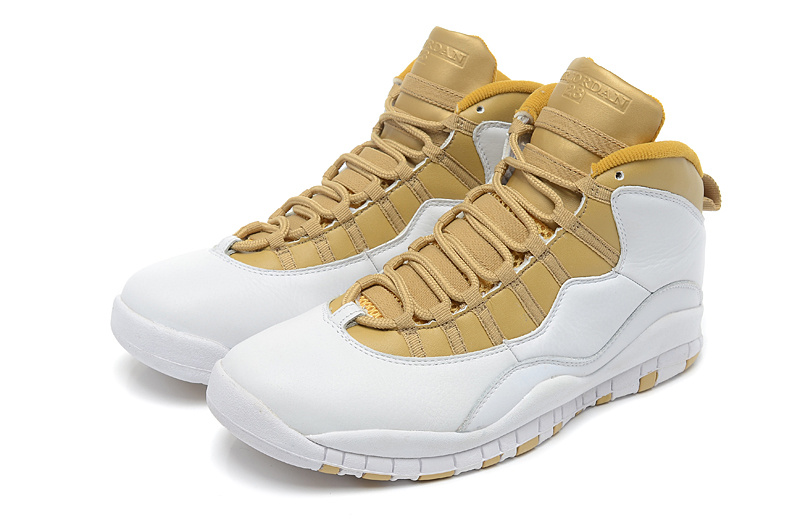 New Air Jordan 10 Retro White Yellow Shoes