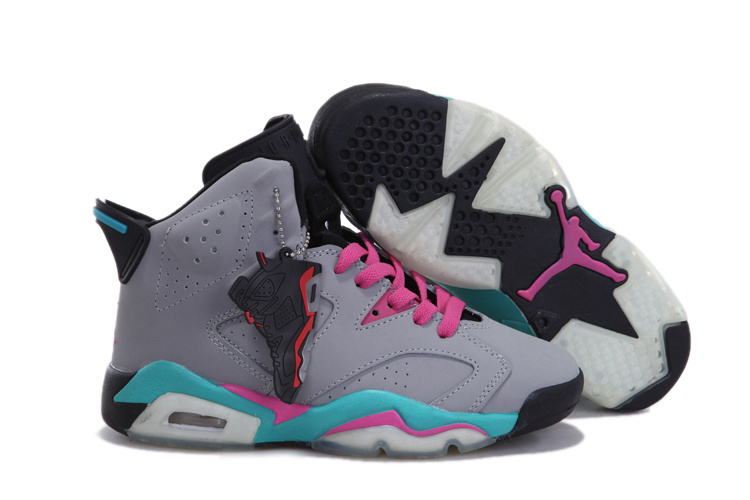 Nike Retro Jordan 6 Grey Pink Blue For Women