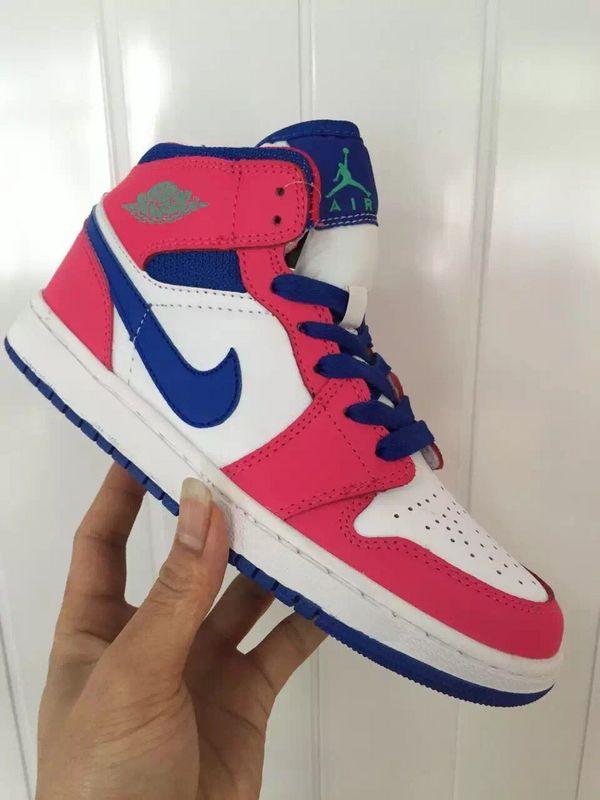 New Women's Nike Air Jordan 1 Pink Blue White Shoes