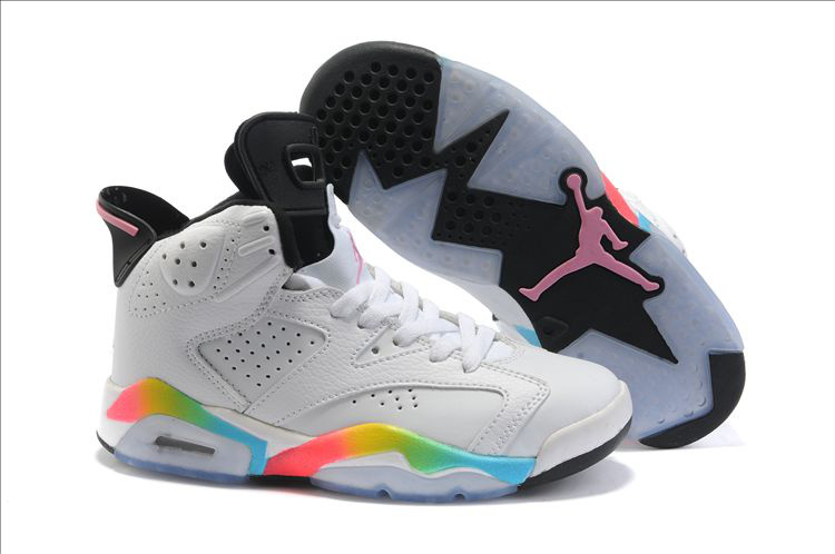 Nike Women Jordan 6 White Colorful Black Shoes