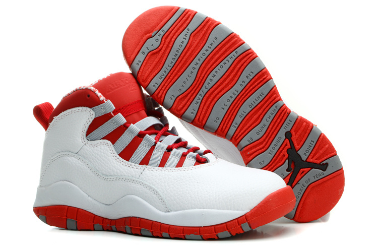 Women's Nike Jordan 10 Basketball Shoes White Red