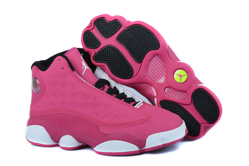Women's Nike Jordan 13 GS Shoes Pink Black White
