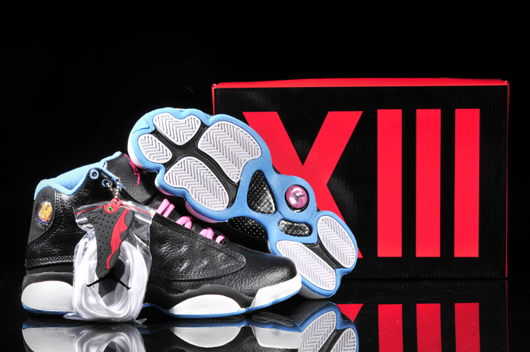 Women's Nike Jordan 13 Shoes Black Pink White Blue