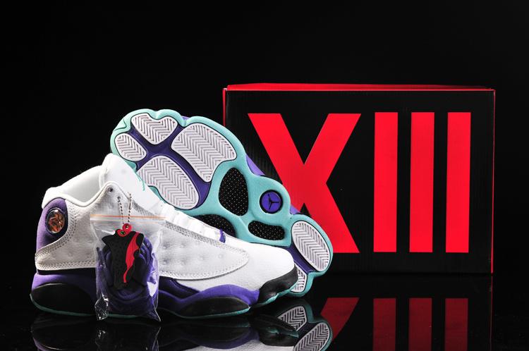 Women's Nike Jordan 13 Shoes Grey White Purple Black