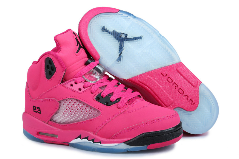 Nike Womens Jordan 5 Basketball Shoes Pink Black Blue