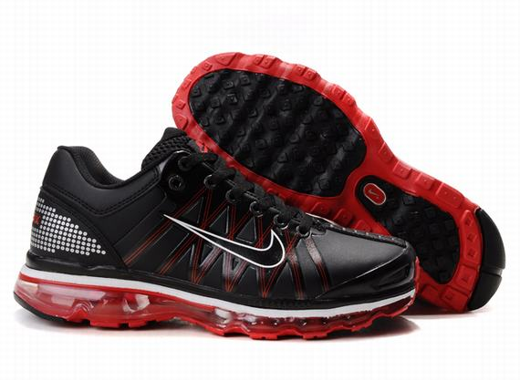 Nike Air Max 2009 Mens Leather Black Red Sole