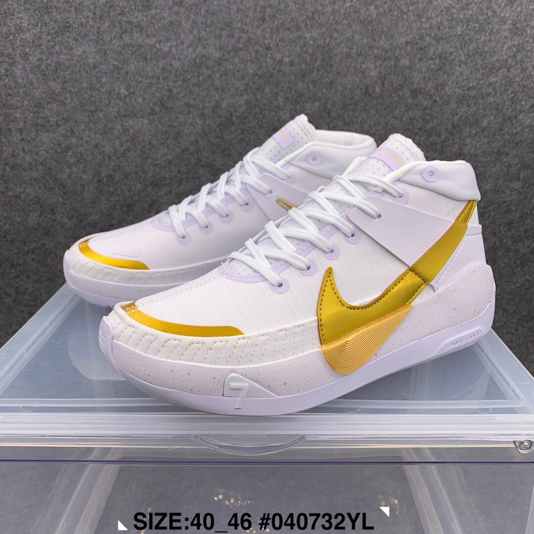 2020 Nike Kevin Durant 13 White Gold Shoes