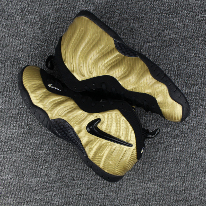 Nike Air Foamposite Gold Black Basketball Shoes