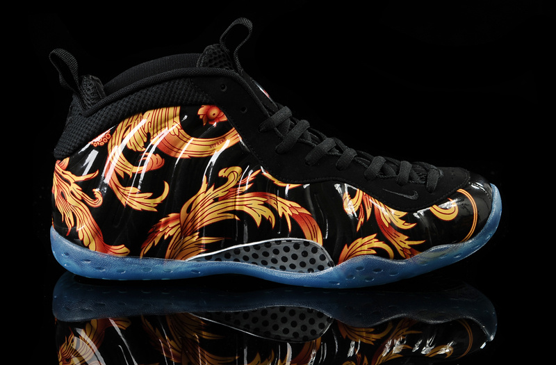 Nike Air Foamposite One Black Yellow Flower Print Shoes