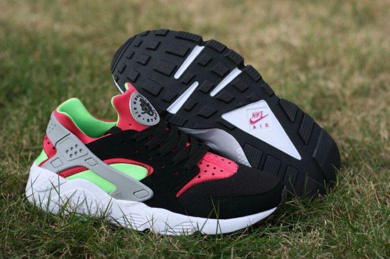 ff7fcb43cfe5 Nike Air Huarache Black Rose Red Light Green Womens Shoes