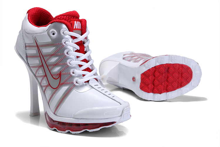Nike Air Max 09 High Heels White Silver Red