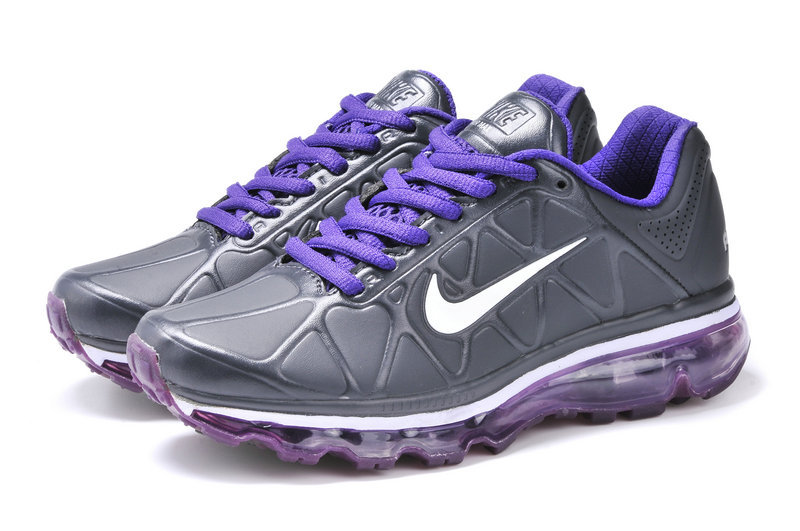 Nike Air Max 2009 Leather Black Purple Shoes