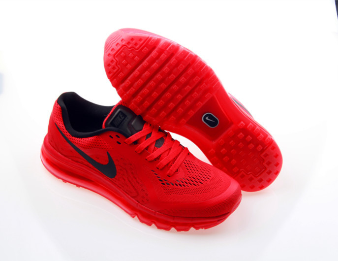 Nike Air Max 2014 All Red Black Swoosh Shoes