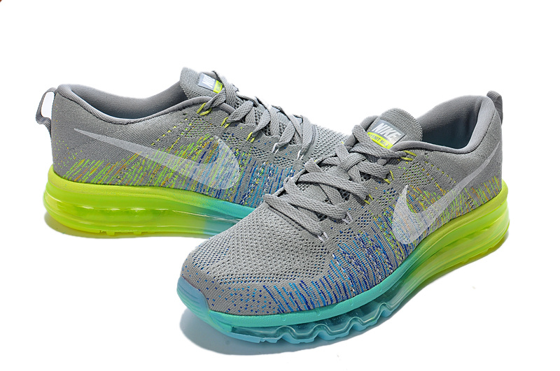 Nike Air Max 2014 Flyknit Grey Blue Yellow