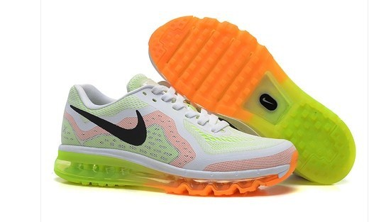 Nike Air Max 2014 White Orange Fluorscent Green Black Shoes