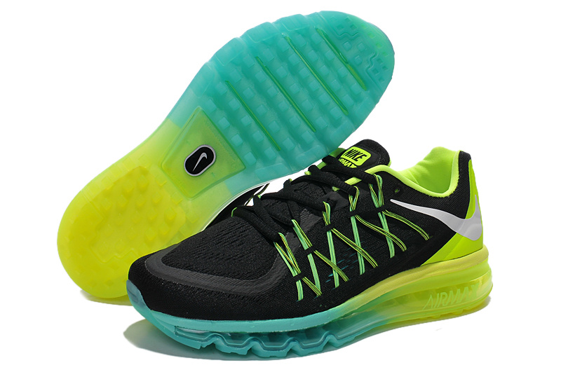 Nike Air Mx 2015 Flywire Black Fluorscent Green Blue Shoes