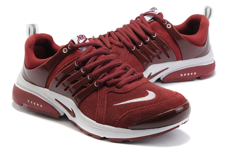 Women Nike Air Presto Suede Wine Red White Shoes