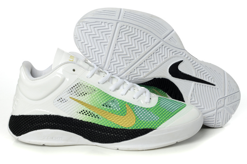 Nike Air Zoom Hyperfuse 2011 Low White Green Black Gold Shoes