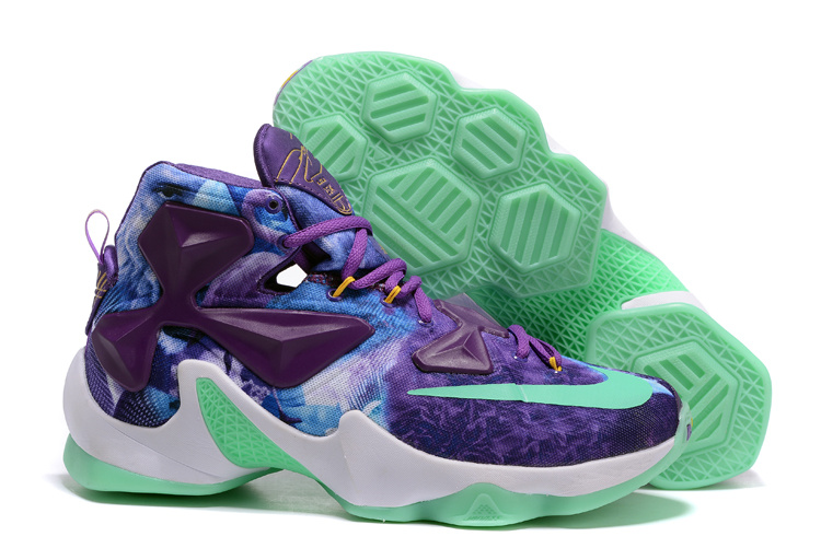 Nike Air Zoom Lebron James 13 Medal Purple Blue Green Shoes