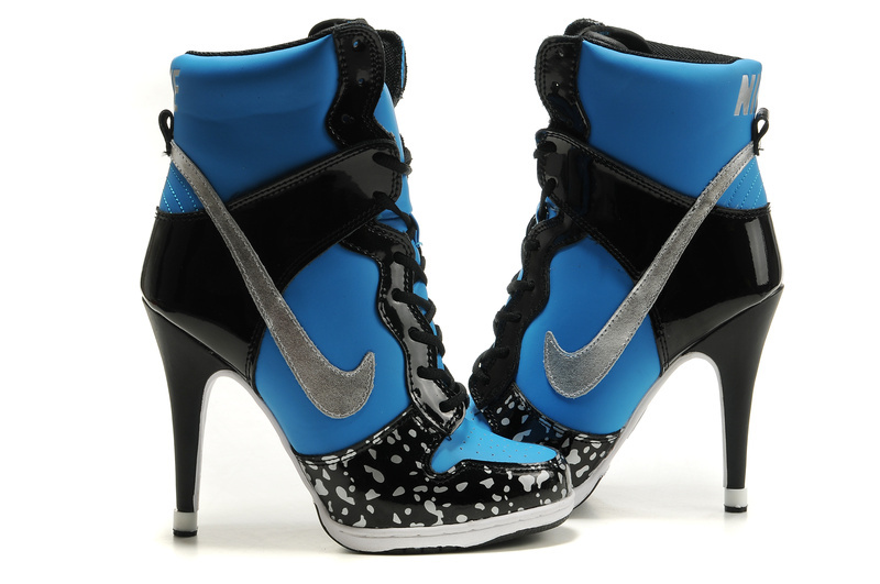 Nike Dunk High Heels Black Blue Grey