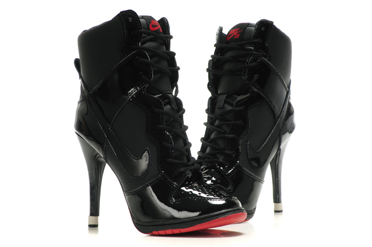 Nike Dunk High Heels Black Red